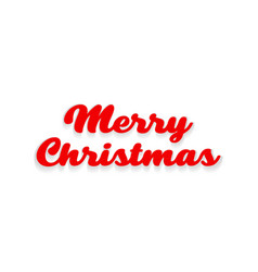 merry christmas text with shadow on a white vector image