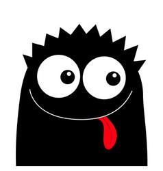 Monster head black silhouette happy halloween vector