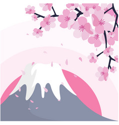 mount fuji sakura pink background image vector image