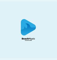 Ocean music logo design template vector