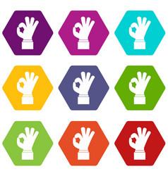 ok gesture icon set color hexahedron vector image