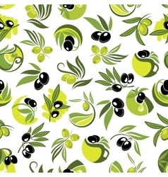 Olive branches and jugs of oil seamless pattern vector image