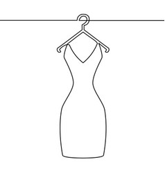 One line drawing woman dress on hange vector