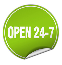 Open 24 7 round green sticker isolated on white vector