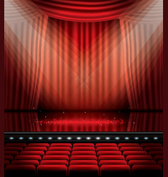 Open red curtains with seats and copy space vector