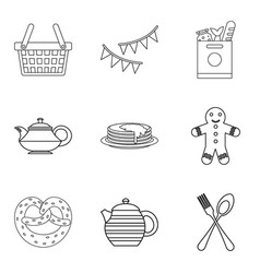 Outing icons set outline style vector