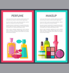 pair of makeup and perfume vector image