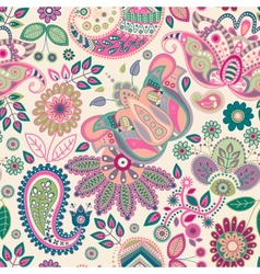 Paisley floral seamless pattern vector image