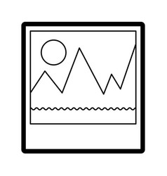 picture icon in black silhouette with thick vector image