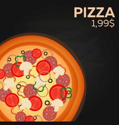Pizza price fast food restauran menu vector