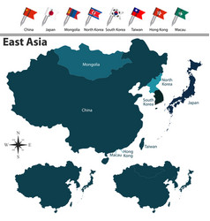 Political map of east asia vector
