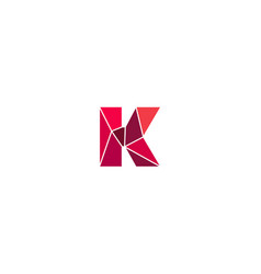 Polygonal trend letter k logotype color vector