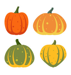 Pumpkin flat farm harvest gourd icons set vector