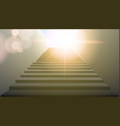 Realistic white upward clear stairs vector