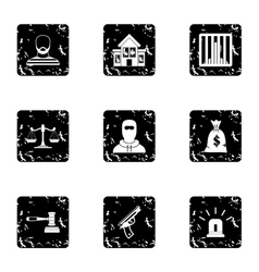 Robbery icons set grunge style vector
