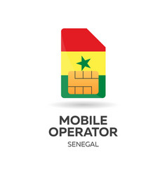 Senegal mobile operator sim card with flag vector