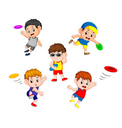 set collection of cute little children vector image