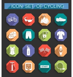 Set of icons on cycling vector