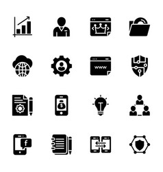 set seo and web solid icons vector image