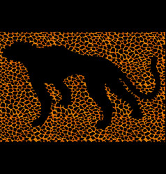 Silhouette leopard ocelot or wild cat on repeated vector