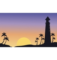 Silhouette of big lighthouse at sunset vector image