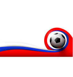 Soccer ball and white red and blue background vector