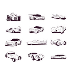 Sport old fast cars clipart cartoon collection vector