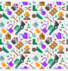 spring gardening seamless pattern in flat design vector image
