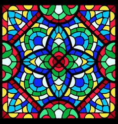 Stained-glass window with colored piece vector