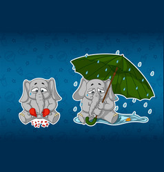 Stickers elephantsbroken heart sadness umbrella vector