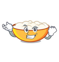 Successful cottage cheese character cartoon vector