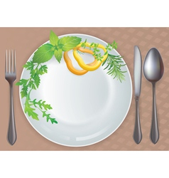 Tableware healthy food vector image