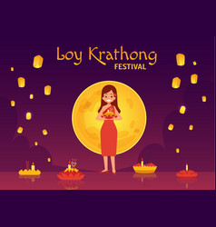 Thailand loy krathong and yee peng festival in vector