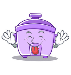 Tongue out rice cooker character cartoon vector