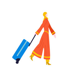 tourist woman walking with suitcase baggage vector image