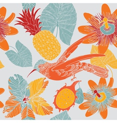 Tropical floral pattern with humming birds vector