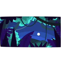 tropical jungle with wood silhouettes and moon vector image