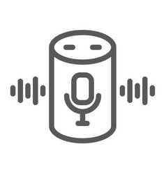 Voice assistant line icon technology and vector