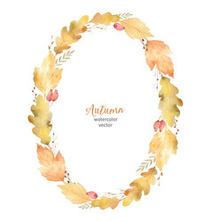Watercolor oval frame of leaves and vector