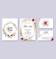 Wedding invitation save date rsvp card vector