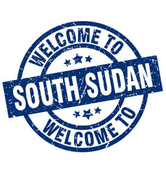 Welcome to south sudan blue stamp vector
