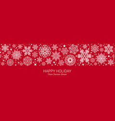 white and red seamless snowflake border christmas vector image