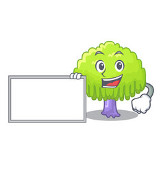 With board isolated weeping willow on the mascot vector