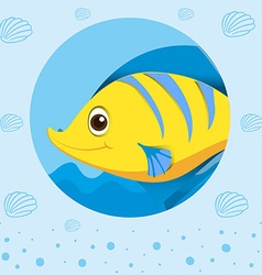Yellow fish with happy face vector