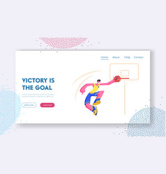 young basketball player score goal into basket vector image