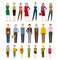 cute cartoon characters men women and kids vector image
