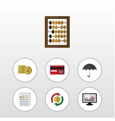 Flat icon gain set of document counter chart and vector