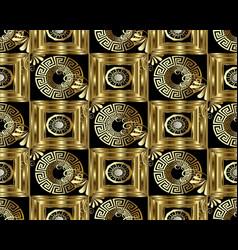 greek key meander gold 3d seamless pattern vector image