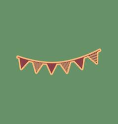holiday flags garlands sign cordovan icon vector image vector image