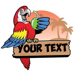 Parrot drink a coconut water grip the text space vector